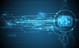 传染媒介抽象未来派电路板和cpu 通信例证查出的技术向量 免版税库存图片