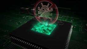 Cpu aan boord met antivirus hologram royalty-vrije illustratie
