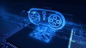 Cpu aan boord met het hologram van het gamepadsymbool stock illustratie