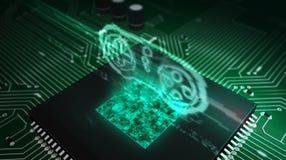 Cpu aan boord met het hologram van het gamepadsymbool royalty-vrije illustratie