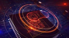 Cpu aan boord met het hologram van het gamepadsymbool vector illustratie