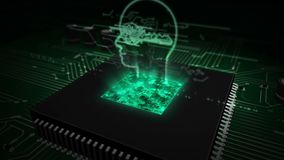 Cpu aan boord met het symboolhologram van de cyberprivacy vector illustratie