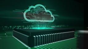 Cpu aan boord met wolkenhologram stock afbeeldingen