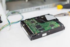 CPU accanto agli strumenti ed al cavo Fotografie Stock