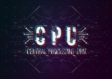 CPU Begriffsplan mit HUD-Elementen für Druck und Netz Beschriftung mit futuristischen Benutzerschnittstellenelementen lizenzfreie stockfotografie