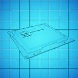 CPU blue print, thin line illustration, black outline symbol on blue background, 3d rendering Stock Photo