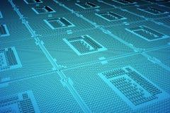 CPU blue print, thin line illustration, black outline symbol on blue background, 3d rendering Stock Photography