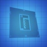 CPU blue print, thin line illustration, black outline symbol on blue background, 3d rendering Stock Image