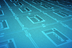 CPU blue print, thin line illustration, black outline symbol on blue background, 3d rendering Royalty Free Stock Images