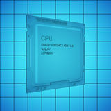 CPU blue print, thin line illustration, black outline symbol on blue background, 3d rendering Stock Photo