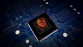 CPU on board with ai head shape hologram display royalty free illustration