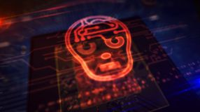 CPU on board with ai head shape hologram display. Artificial intelligence concept with ai head hologram display over working cpu in background. Cybernetic brain