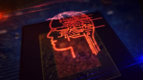 CPU on board with AI head symbol hologram display. Artificial intelligence, cybernetic brain, analysing and deep machine learning concept with ai head hologram