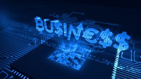CPU on board with business hologram. Business and marketing concept with money signs hologram over working cpu in background. Futuristic concept of economy stock illustration