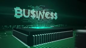 CPU on board with business hologram. Business and marketing concept with money signs hologram over working cpu in background. Futuristic concept of economy vector illustration