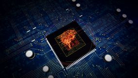 CPU on board with cybernetic brain hologram display