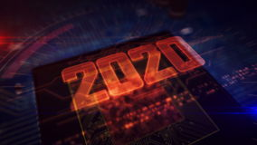 CPU on board with 2020 hologram. 2020 year glowing hologram over working cpu in background. Modern and futuristic 3D introduction vector illustration