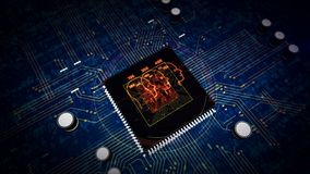 CPU on board with social scoring symbol hologram display