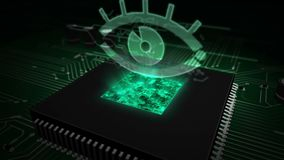 CPU on board with spy eye hologram. Cyber surveillance concept with spy eye hologram over working cpu in background. 3D flight over futuristic circuit board stock video