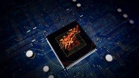 CPU an Bord mit Aktienkurvesymbol-Hologrammanzeige stock footage