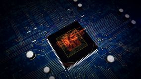 CPU an Bord mit gro?em Datenhologramm vektor abbildung