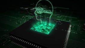 CPU a bordo con el holograma cibern?tico del s?mbolo de la aislamiento ilustración del vector