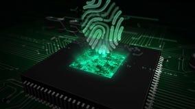 CPU a bordo con el holograma de la huella dactilar stock de ilustración