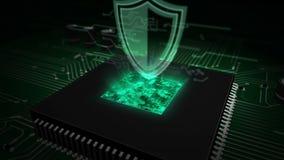 CPU a bordo con el holograma del escudo ilustración del vector