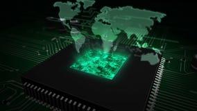 CPU a bordo con el holograma del mapa del mundo