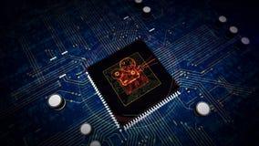 CPU a bordo con el holograma del s?mbolo del proyector
