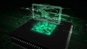 CPU a bordo con el holograma digital de los medios libre illustration