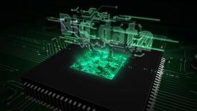 CPU a bordo con el holograma grande de los datos libre illustration