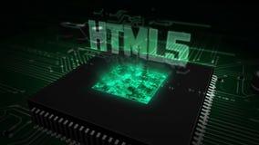 CPU a bordo con el holograma html5 ilustración del vector