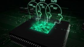 CPU a bordo con el holograma que anota social libre illustration