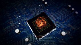 CPU a bordo con l'esposizione domestica astuta dell'ologramma di simbolo dello iot illustrazione di stock