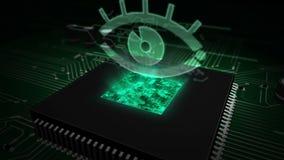 CPU a bordo con l'ologramma dell'occhio della spia archivi video