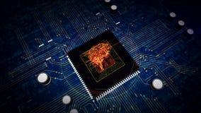 CPU a bordo con la exhibición cibernética del holograma del cerebro libre illustration