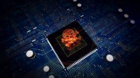 CPU a bordo con la exhibición del holograma del cráneo stock de ilustración