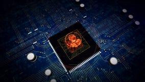 CPU a bordo con la exhibición del holograma del símbolo de la aislamiento libre illustration