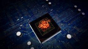 CPU a bordo con la exhibición del holograma del símbolo de GDPR stock de ilustración