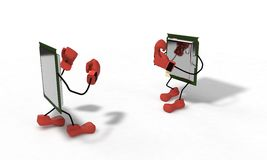 Cpu boxing concept of background, 3d render Royalty Free Stock Photography