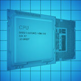 CPU bplueprint on grid, black outline, 3d rendering Royalty Free Stock Photography