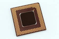 CPU Chip. A computer processor on a white background Royalty Free Stock Photo