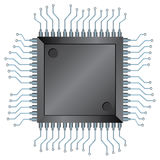 CPU chip. Vector illustration of Electronic semiconductor integrated component isolated over white Stock Image