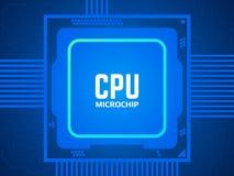 CPU Chip auf Leiterplatte Blauer Mikroprozessor und Motherboard Abstraktes technologisches Konzept Prozessor und helles vektor abbildung
