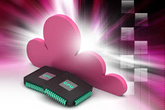 Cpu chip with cloud Royalty Free Stock Photography