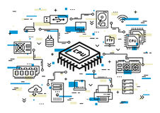 CPU chip and computer components vector illustration Royalty Free Stock Image