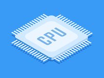 CPU chip, Computer processor icon. Isometric template for web design in flat 3D style. Vector illustration.  royalty free illustration