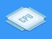 CPU Chip, Computerprozessorikone Isometrische Schablone für Webdesign in der flachen Art 3D Auch im corel abgehobenen Betrag lizenzfreie abbildung