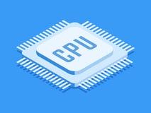 CPU Chip, Computerprozessorikone Isometrische Schablone für Webdesign in der flachen Art 3D Auch im corel abgehobenen Betrag stock abbildung